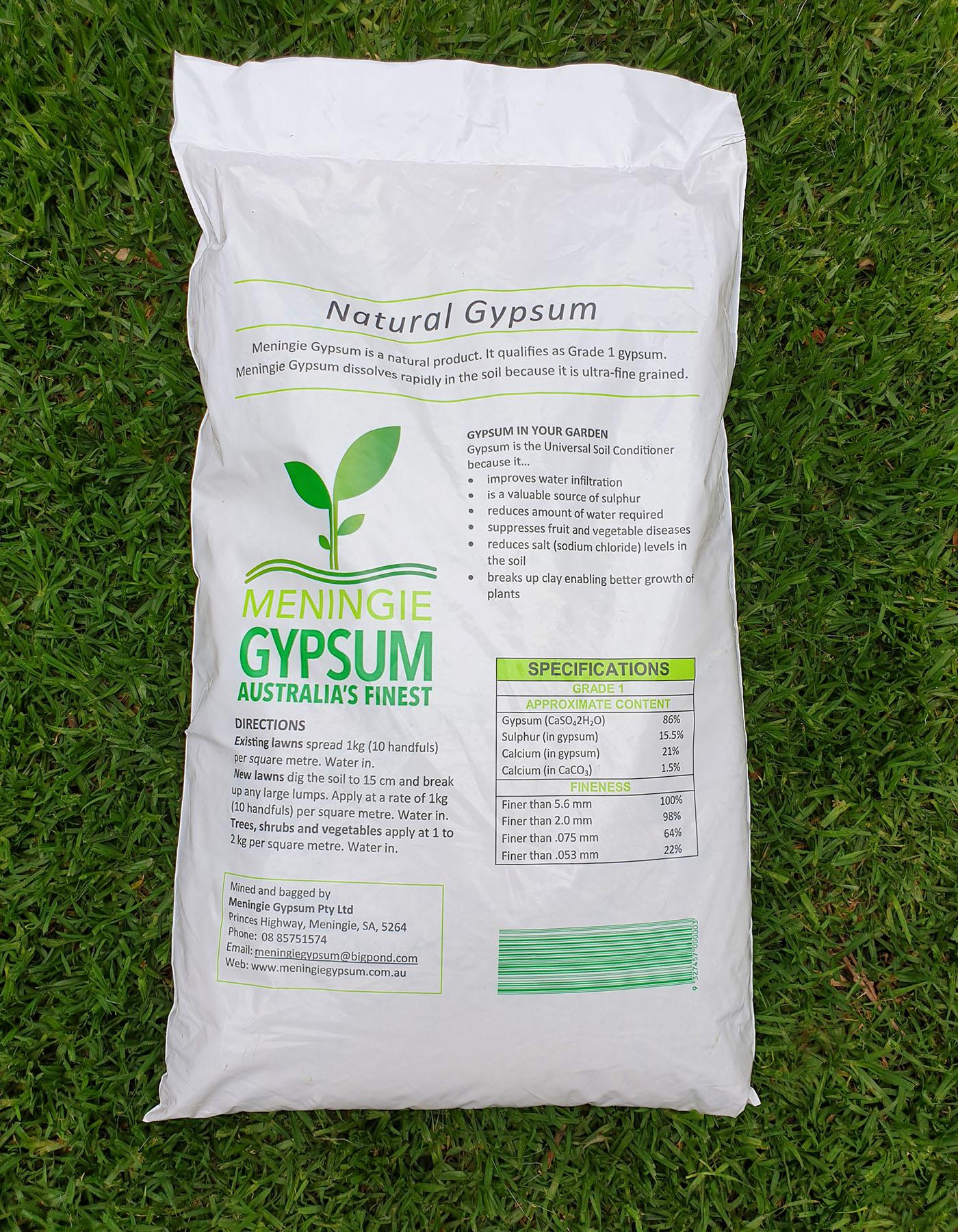 back of Meningie Gypsum bag