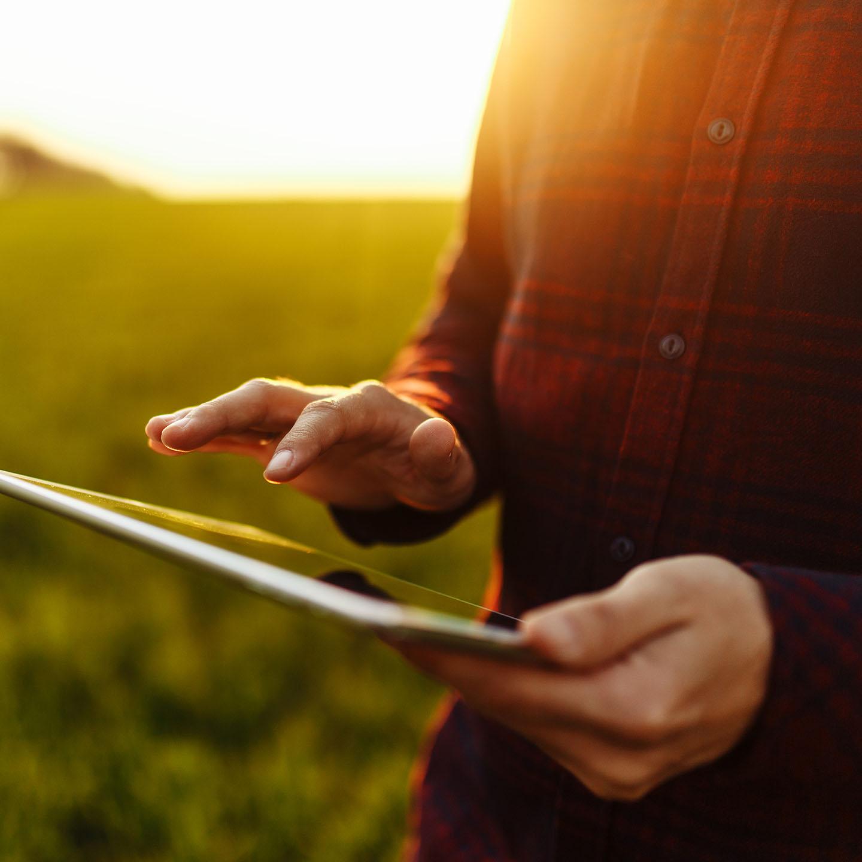 Farmer with iPad
